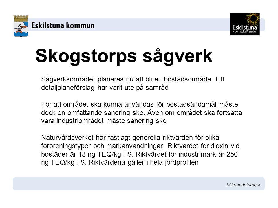 Miljöavdelningen Skogstorps sågverk Sågverket har undersökt mark och grundvatten och har med viss säkerhet avgränsat utbredningen.