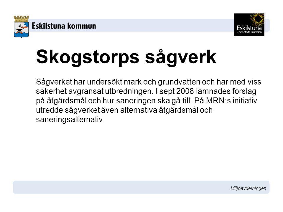 Miljöavdelningen Skogstorps sågverk Sågverket har undersökt mark och grundvatten och har med viss säkerhet avgränsat utbredningen. I sept 2008 lämnade