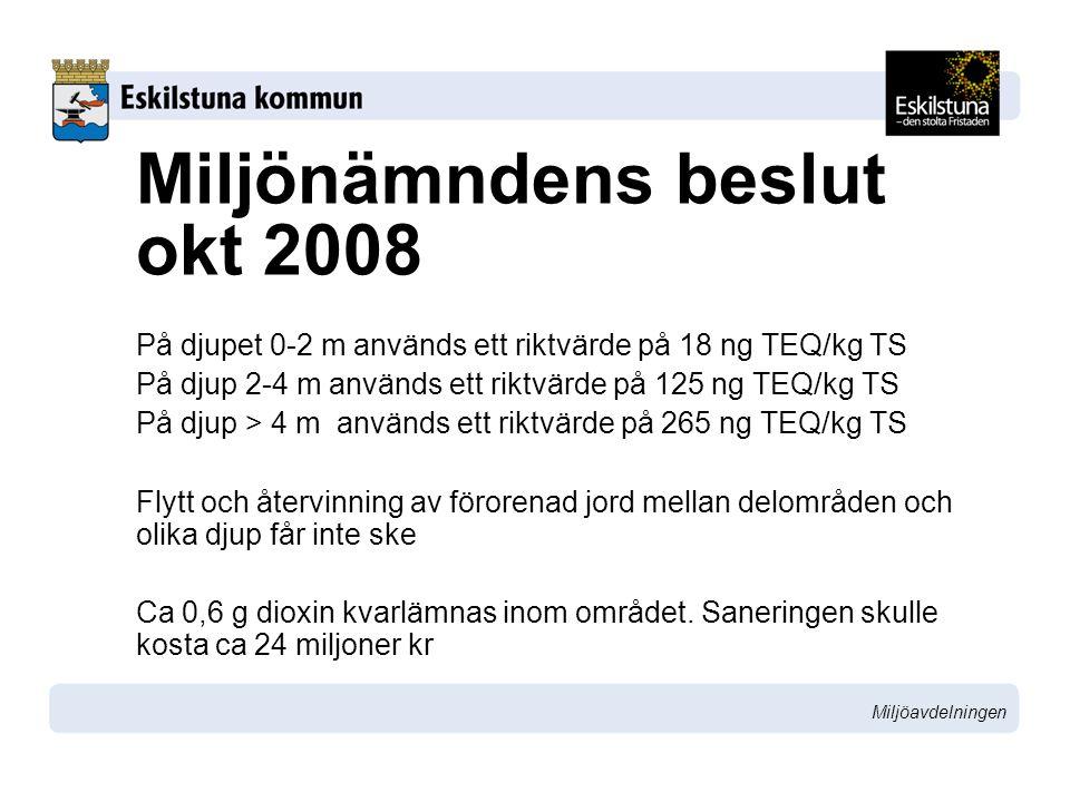 Miljöavdelningen Miljönämndens beslut okt 2008 På djupet 0-2 m används ett riktvärde på 18 ng TEQ/kg TS På djup 2-4 m används ett riktvärde på 125 ng