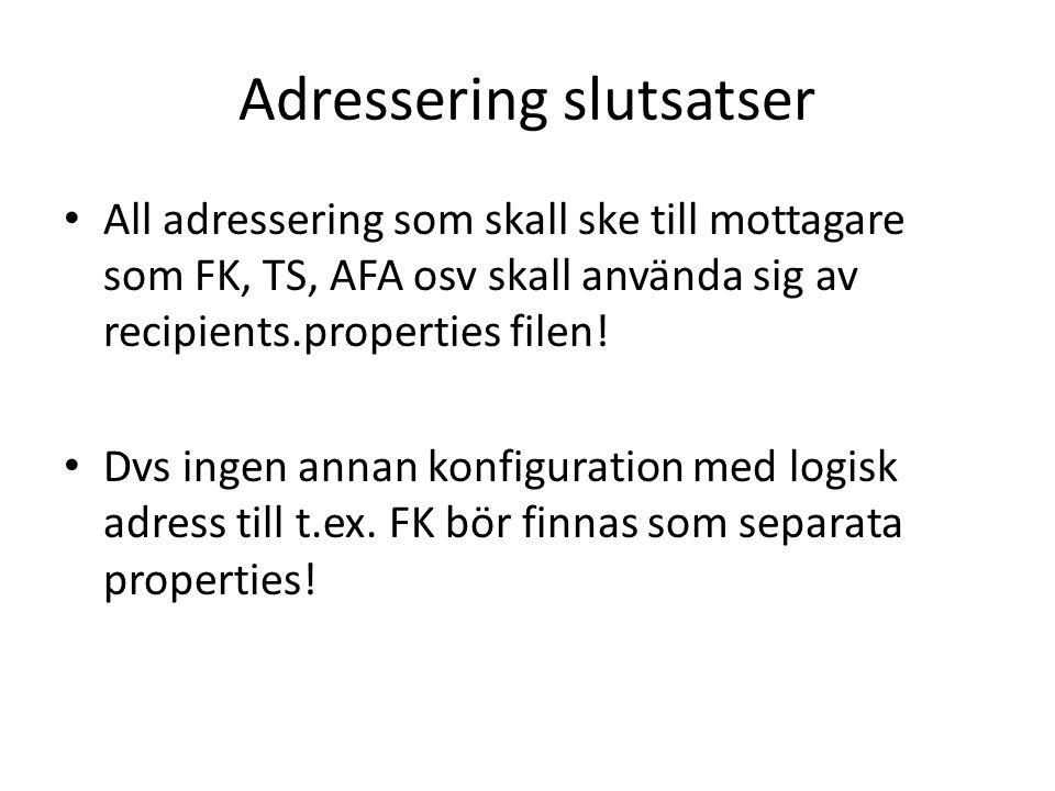 Adressering slutsatser All adressering som skall ske till mottagare som FK, TS, AFA osv skall använda sig av recipients.properties filen! Dvs ingen an