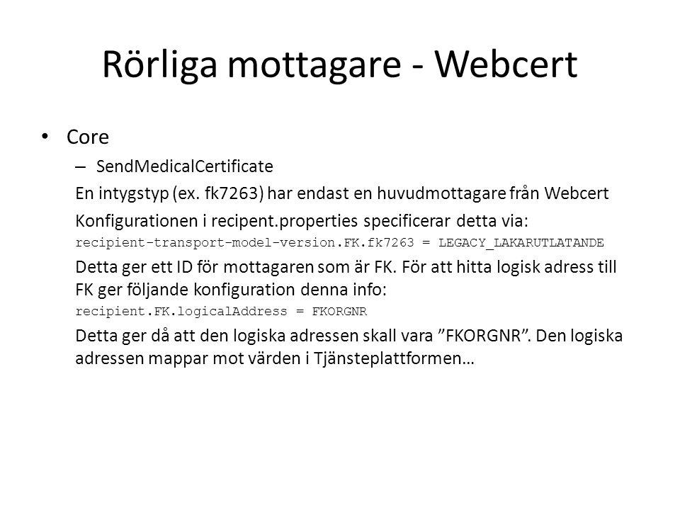 Rörliga mottagare - Webcert Core – SendMedicalCertificate En intygstyp (ex. fk7263) har endast en huvudmottagare från Webcert Konfigurationen i recipe