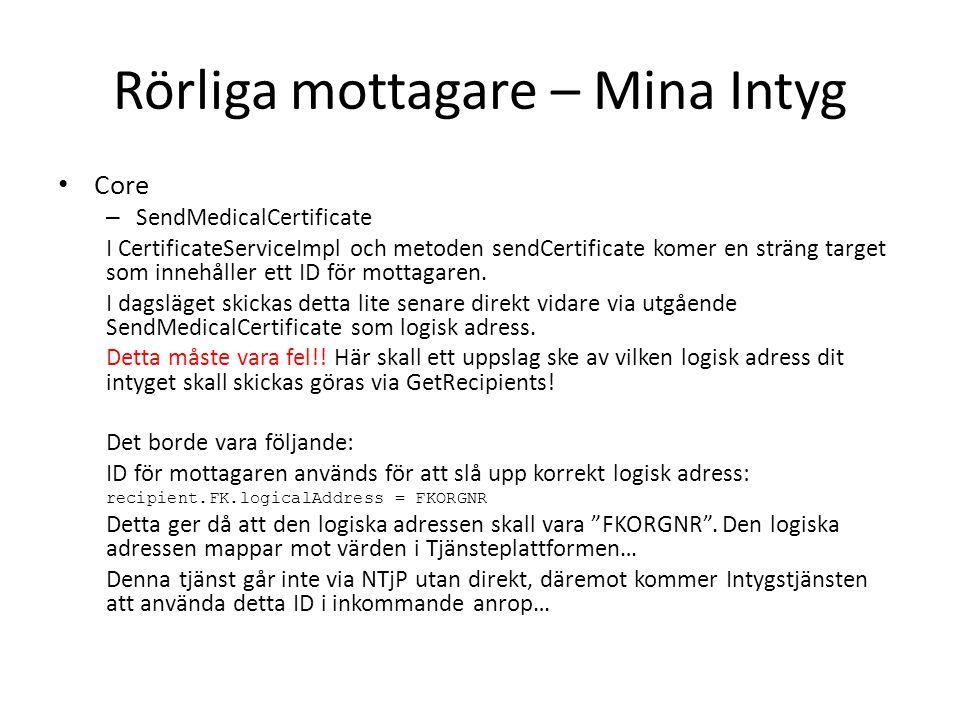 Rörliga mottagare – Mina Intyg Core – SendMedicalCertificate I CertificateServiceImpl och metoden sendCertificate komer en sträng target som innehåller ett ID för mottagaren.