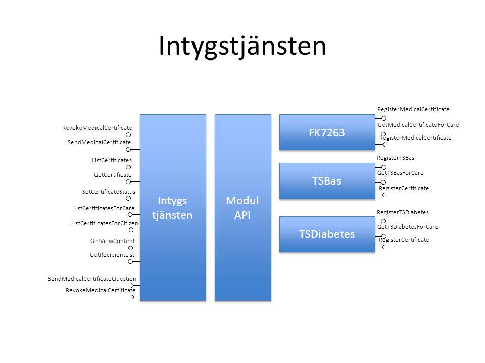 Intygstjänsten Modul API RevokeMedicalCertificate SendMedicalCertificate RegisterMedicalCertificate GetMedicalCertificateForCare RegisterTSBas GetTSBa