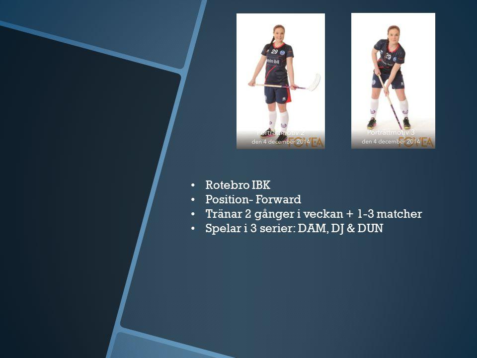 Rotebro IBK Position- Forward Tränar 2 gånger i veckan + 1-3 matcher Spelar i 3 serier: DAM, DJ & DUN