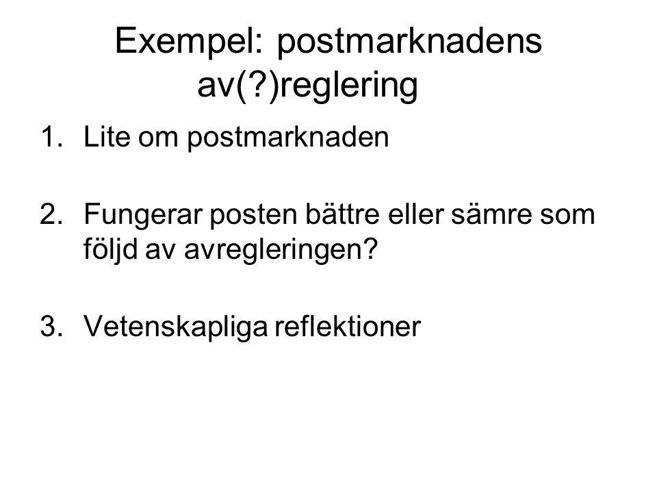 Exempel: postmarknadens av(?)reglering 1.Lite om postmarknaden 2.Fungerar posten bättre eller sämre som följd av avregleringen? 3.Vetenskapliga reflek