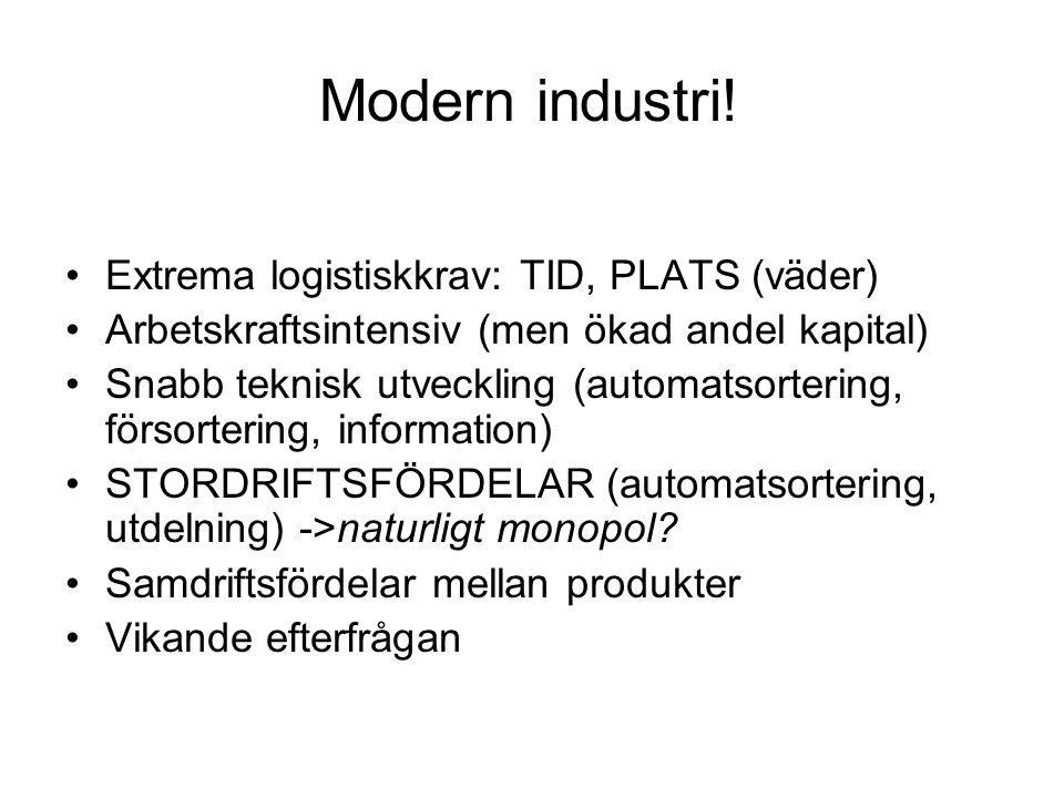 Modern industri! Extrema logistiskkrav: TID, PLATS (väder) Arbetskraftsintensiv (men ökad andel kapital) Snabb teknisk utveckling (automatsortering, f