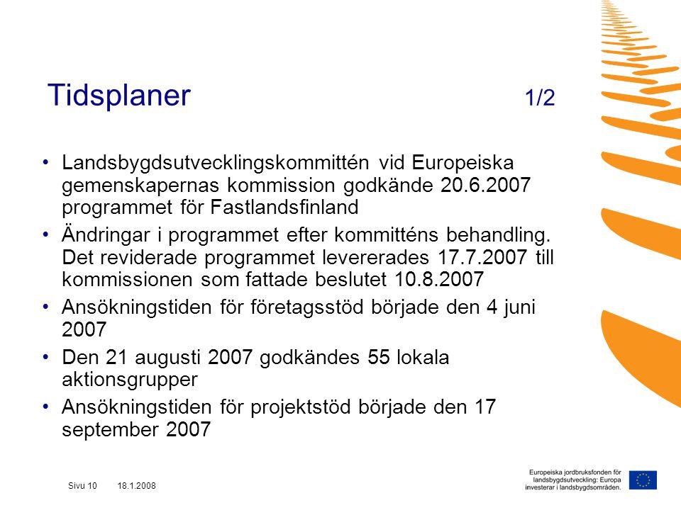 Sivu 10 18.1.2008 Tidsplaner 1/2 Landsbygdsutvecklingskommittén vid Europeiska gemenskapernas kommission godkände 20.6.2007 programmet för Fastlandsfinland Ändringar i programmet efter kommitténs behandling.