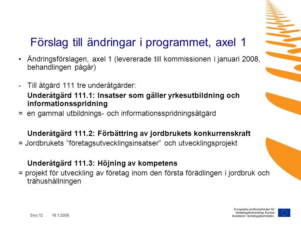 Sivu 12 18.1.2008 Förslag till ändringar i programmet, axel 1 Ändringsförslagen, axel 1 (levererade till kommissionen i januari 2008, behandlingen pågår) -Till åtgärd 111 tre underåtgärder: Underåtgärd 111.1: Insatser som gäller yrkesutbildning och informationsspridning = en gammal utbildnings- och informationsspridningsåtgärd Underåtgärd 111.2: Förbättring av jordbrukets konkurrenskraft = Jordbrukets företagsutvecklingsinsatser och utvecklingsprojekt Underåtgärd 111.3: Höjning av kompetens = projekt för utveckling av företag inom den första förädlingen i jordbruk och trähushållningen