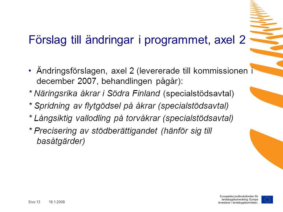 Sivu 13 18.1.2008 Ändringsförslagen, axel 2 (levererade till kommissionen i december 2007, behandlingen pågår): * Näringsrika åkrar i Södra Finland (specialstödsavtal) * Spridning av flytgödsel på åkrar (specialstödsavtal) * Långsiktig vallodling på torvåkrar (specialstödsavtal) * Precisering av stödberättigandet (hänför sig till basåtgärder) Förslag till ändringar i programmet, axel 2