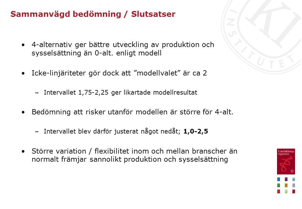 Sammanvägd bedömning / Slutsatser 4-alternativ ger bättre utveckling av produktion och sysselsättning än 0-alt.