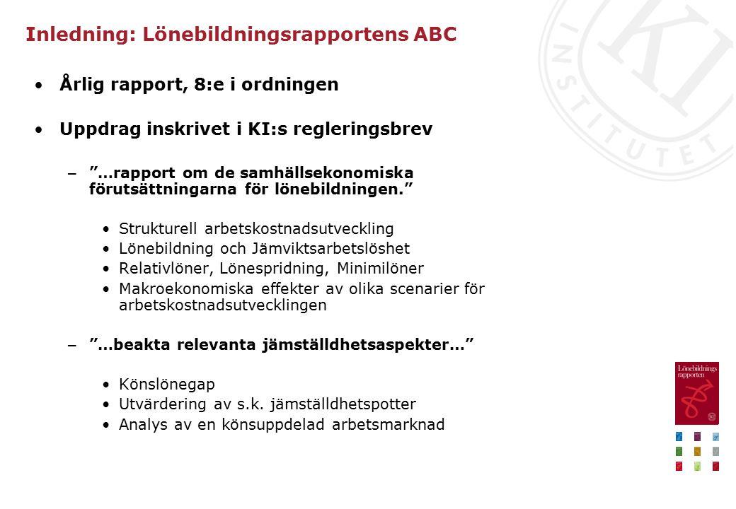 Inledning: Lönebildningsrapportens ABC (forts.) Arbetskostnader (ej lön) avses – Centrala och lokala påslag – Inkl.