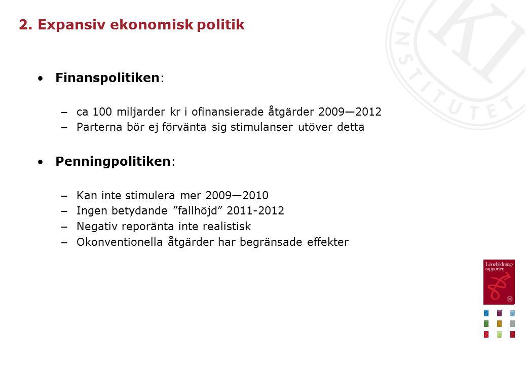 2. Expansiv ekonomisk politik Finanspolitiken: – ca 100 miljarder kr i ofinansierade åtgärder 2009—2012 – Parterna bör ej förvänta sig stimulanser utö