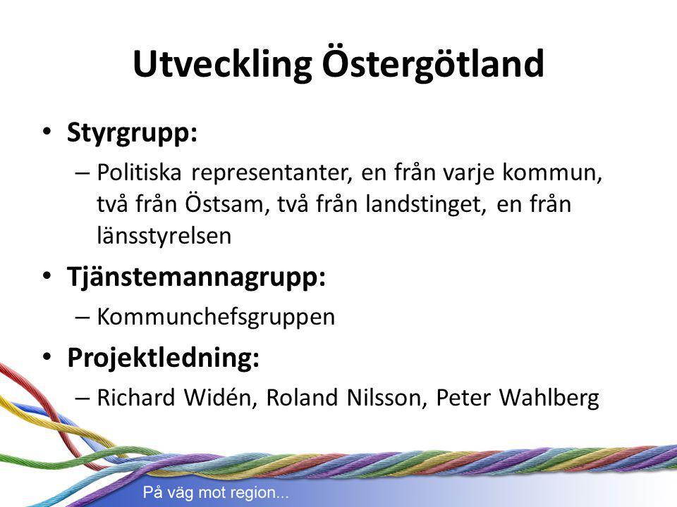 Utveckling Östergötland Styrgrupp: – Politiska representanter, en från varje kommun, två från Östsam, två från landstinget, en från länsstyrelsen Tjän