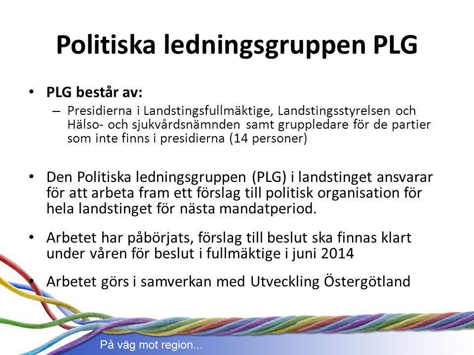 Politiska ledningsgruppen PLG PLG består av: – Presidierna i Landstingsfullmäktige, Landstingsstyrelsen och Hälso- och sjukvårdsnämnden samt gruppleda