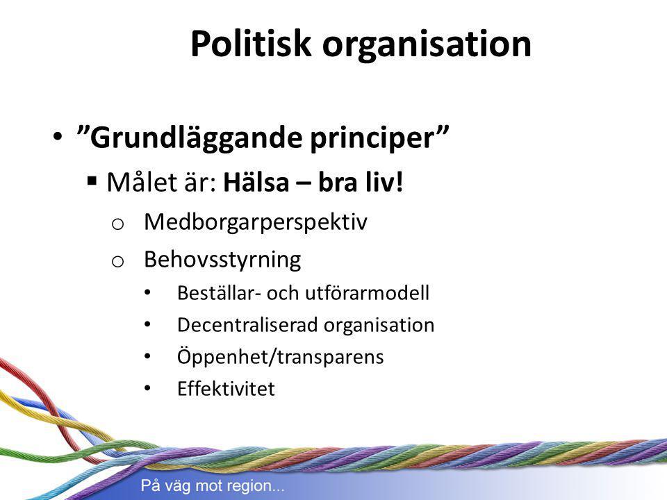 """Politisk organisation """"Grundläggande principer""""  Målet är: Hälsa – bra liv! o Medborgarperspektiv o Behovsstyrning Beställar- och utförarmodell Decen"""
