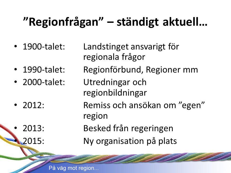 """""""Regionfrågan"""" – ständigt aktuell… 1900-talet: Landstinget ansvarigt för regionala frågor 1990-talet: Regionförbund, Regioner mm 2000-talet: Utredning"""