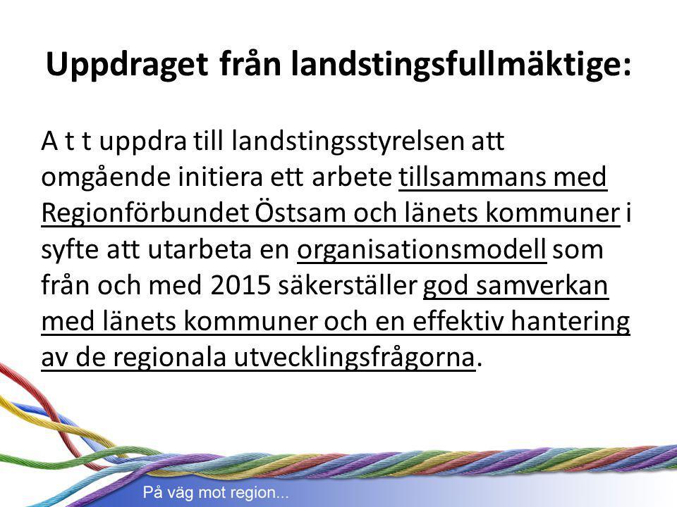 Uppdraget från landstingsfullmäktige: A t t uppdra till landstingsstyrelsen att omgående initiera ett arbete tillsammans med Regionförbundet Östsam oc