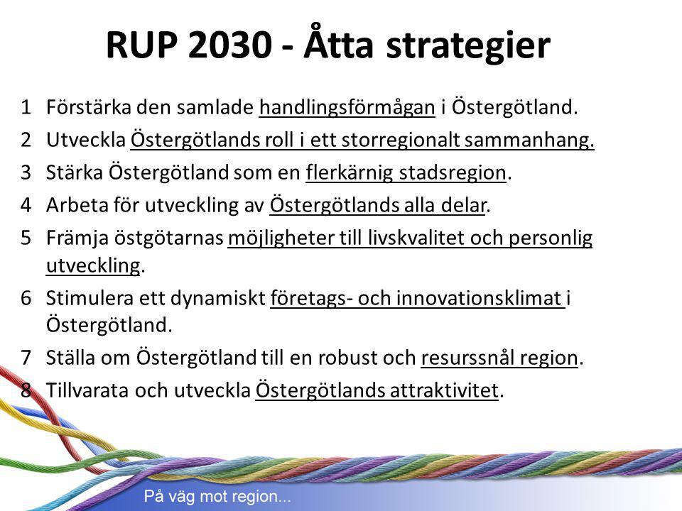 1Förstärka den samlade handlingsförmågan i Östergötland. 2Utveckla Östergötlands roll i ett storregionalt sammanhang. 3 Stärka Östergötland som en fle