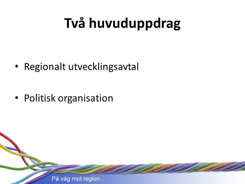 Två huvuduppdrag Regionalt utvecklingsavtal Politisk organisation