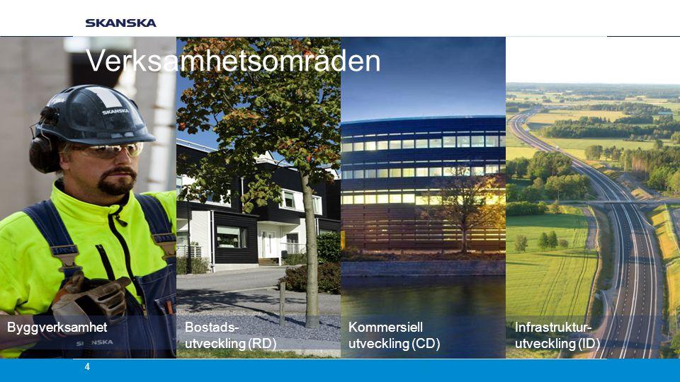 Kommersiell utveckling (CD) Infrastruktur- utveckling (ID) Byggverksamhet Bostads- utveckling (RD) Verksamhetsområden 4