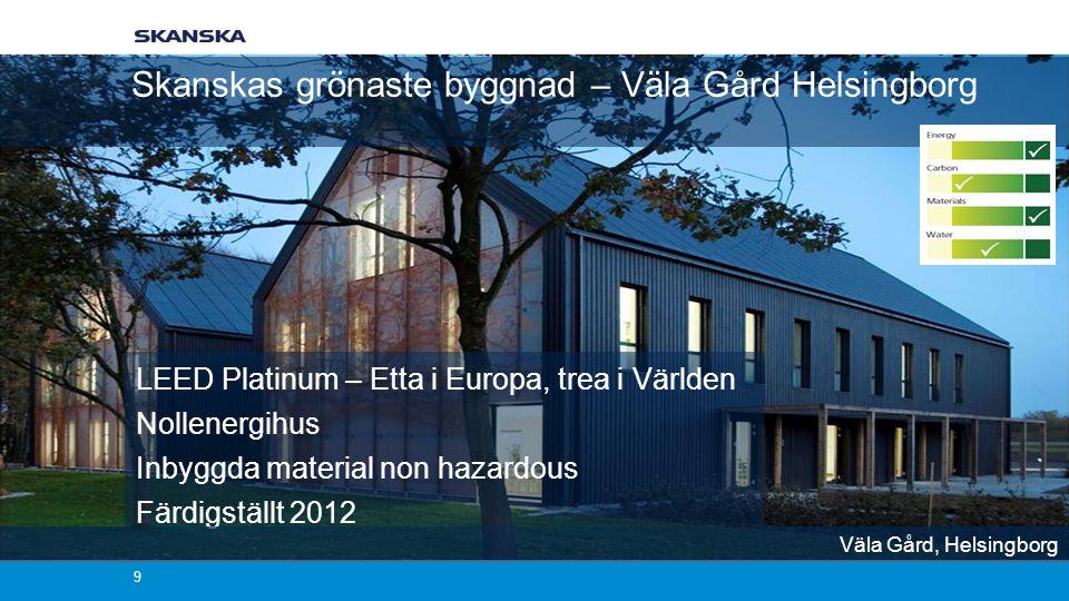 Skanskas grönaste byggnad – Väla Gård Helsingborg 9 LEED Platinum – Etta i Europa, trea i Världen Nollenergihus Inbyggda material non hazardous Färdigställt 2012 Väla Gård, Helsingborg