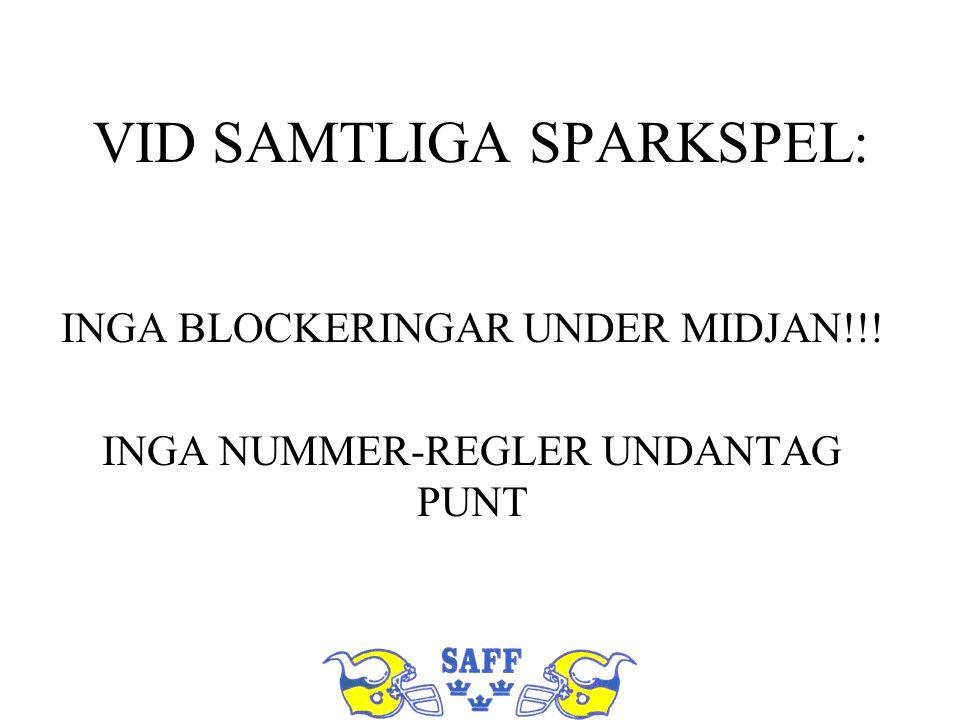 VID SAMTLIGA SPARKSPEL: INGA BLOCKERINGAR UNDER MIDJAN!!! INGA NUMMER-REGLER UNDANTAG PUNT
