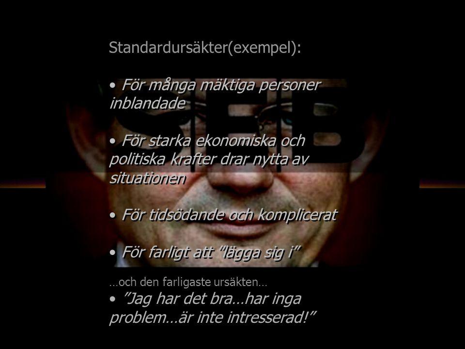 Standardursäkter(exempel): För många mäktiga personer inblandade För starka ekonomiska och politiska krafter drar nytta av situationen För tidsödande och komplicerat För farligt att lägga sig i …och den farligaste ursäkten… Jag har det bra…har inga problem…är inte intresserad! Standardursäkter(exempel): För många mäktiga personer inblandade För starka ekonomiska och politiska krafter drar nytta av situationen För tidsödande och komplicerat För farligt att lägga sig i …och den farligaste ursäkten… Jag har det bra…har inga problem…är inte intresserad!