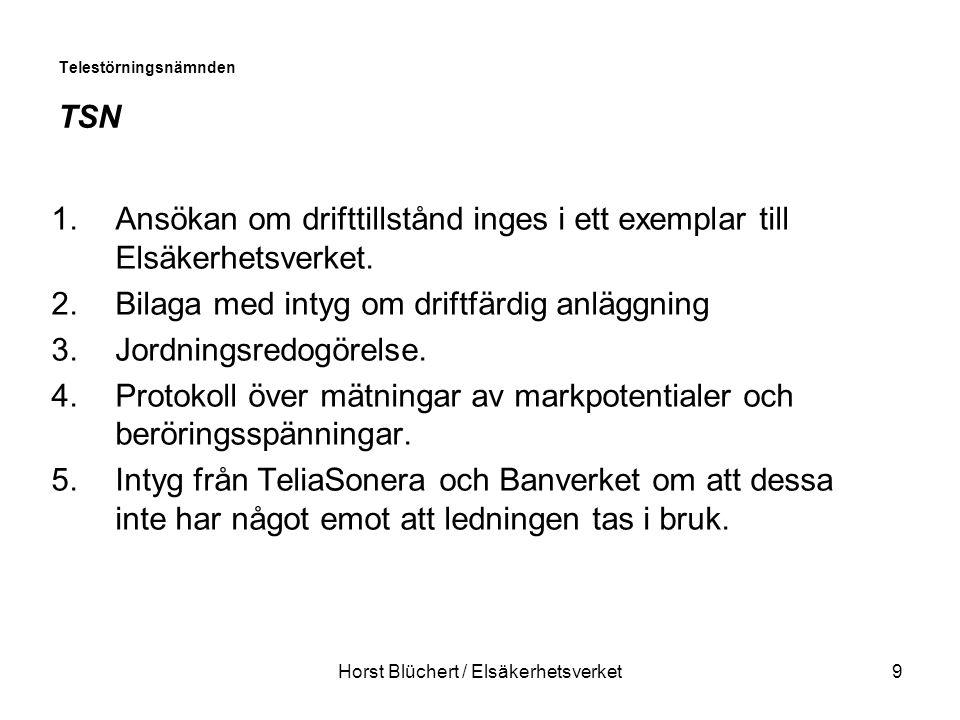 Horst Blüchert / Elsäkerhetsverket9 Telestörningsnämnden TSN 1.Ansökan om drifttillstånd inges i ett exemplar till Elsäkerhetsverket.
