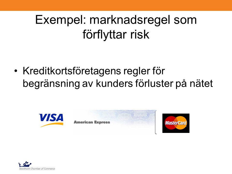 Exempel: marknadsregel som förflyttar risk Kreditkortsföretagens regler för begränsning av kunders förluster på nätet