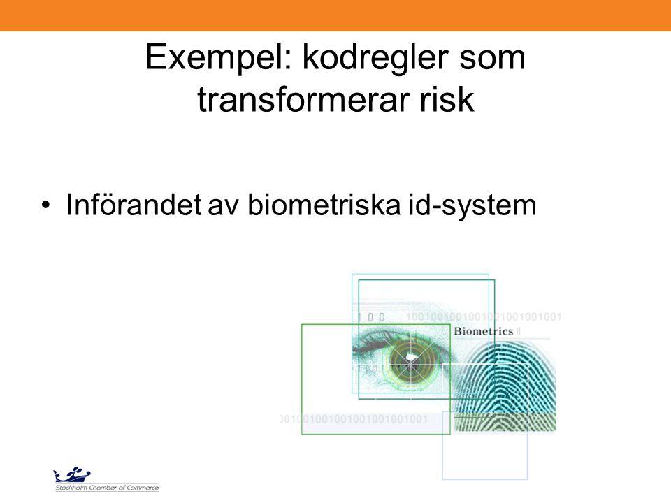 Exempel: kodregler som transformerar risk Införandet av biometriska id-system