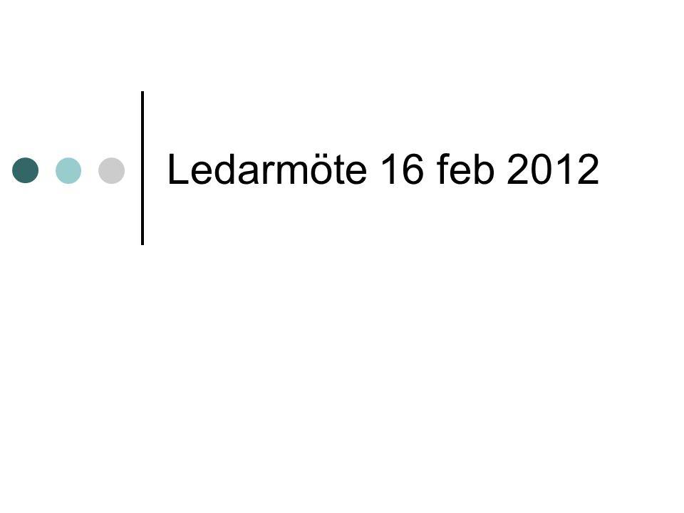 Ledarmöte 16 feb 2012