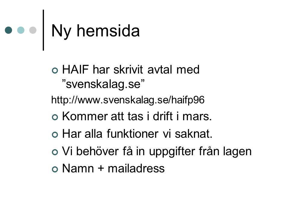 """Ny hemsida HAIF har skrivit avtal med """"svenskalag.se"""" http://www.svenskalag.se/haifp96 Kommer att tas i drift i mars. Har alla funktioner vi saknat. V"""
