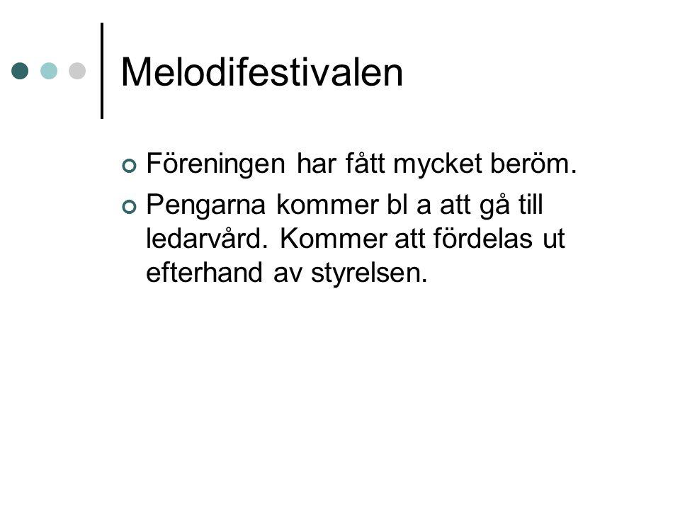 Melodifestivalen Föreningen har fått mycket beröm. Pengarna kommer bl a att gå till ledarvård. Kommer att fördelas ut efterhand av styrelsen.