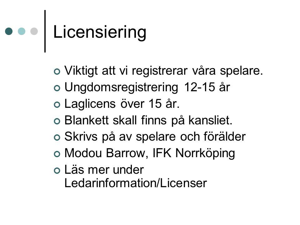 Licensiering Viktigt att vi registrerar våra spelare. Ungdomsregistrering 12-15 år Laglicens över 15 år. Blankett skall finns på kansliet. Skrivs på a