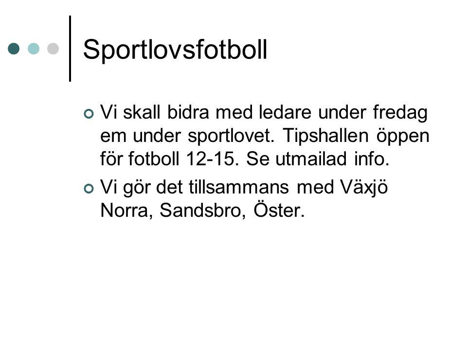 Sportlovsfotboll Vi skall bidra med ledare under fredag em under sportlovet. Tipshallen öppen för fotboll 12-15. Se utmailad info. Vi gör det tillsamm