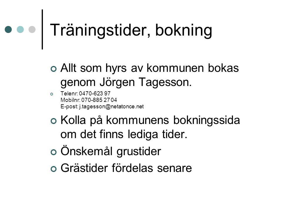 Träningstider, bokning Allt som hyrs av kommunen bokas genom Jörgen Tagesson. Telenr: 0470-623 97 Mobilnr: 070-885 27 04 E-post: j.tagesson@netatonce.