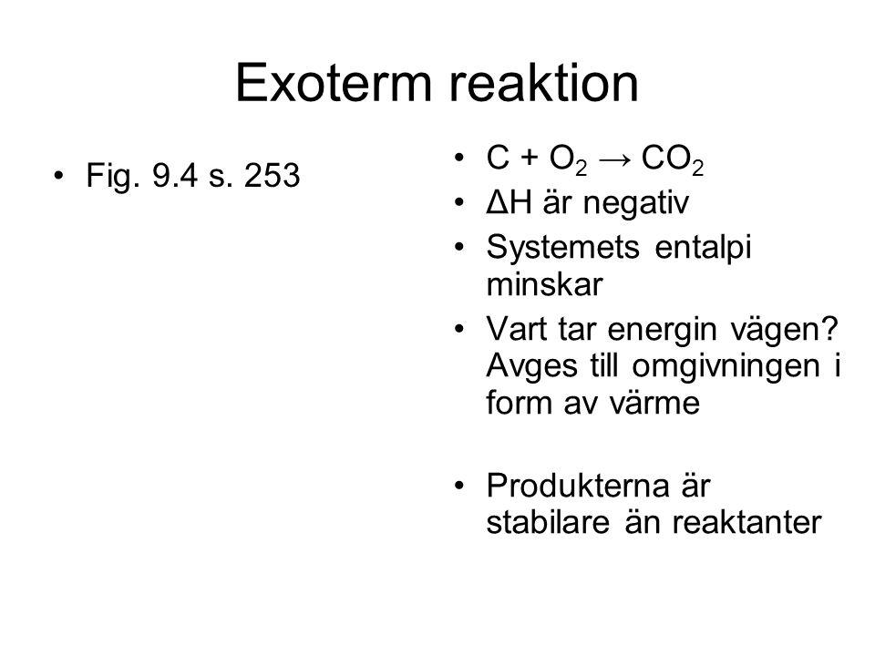 Exoterm reaktion Fig. 9.4 s. 253 C + O 2 → CO 2 ΔH är negativ Systemets entalpi minskar Vart tar energin vägen? Avges till omgivningen i form av värme