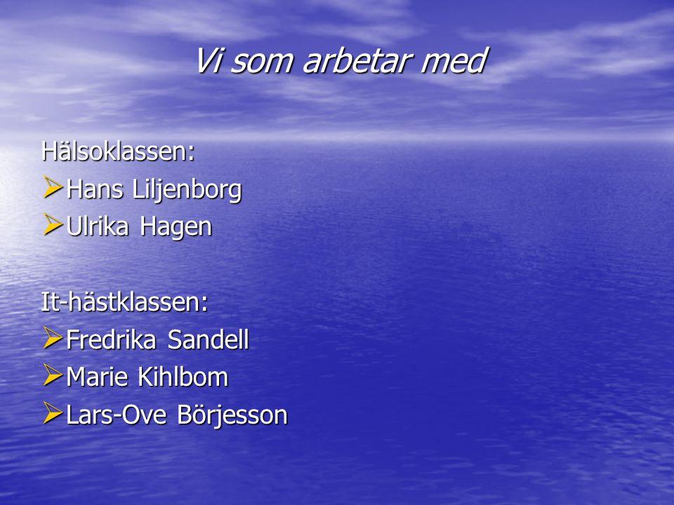 Vi som arbetar med Hälsoklassen:  Hans Liljenborg  Ulrika Hagen It-hästklassen:  Fredrika Sandell  Marie Kihlbom  Lars-Ove Börjesson