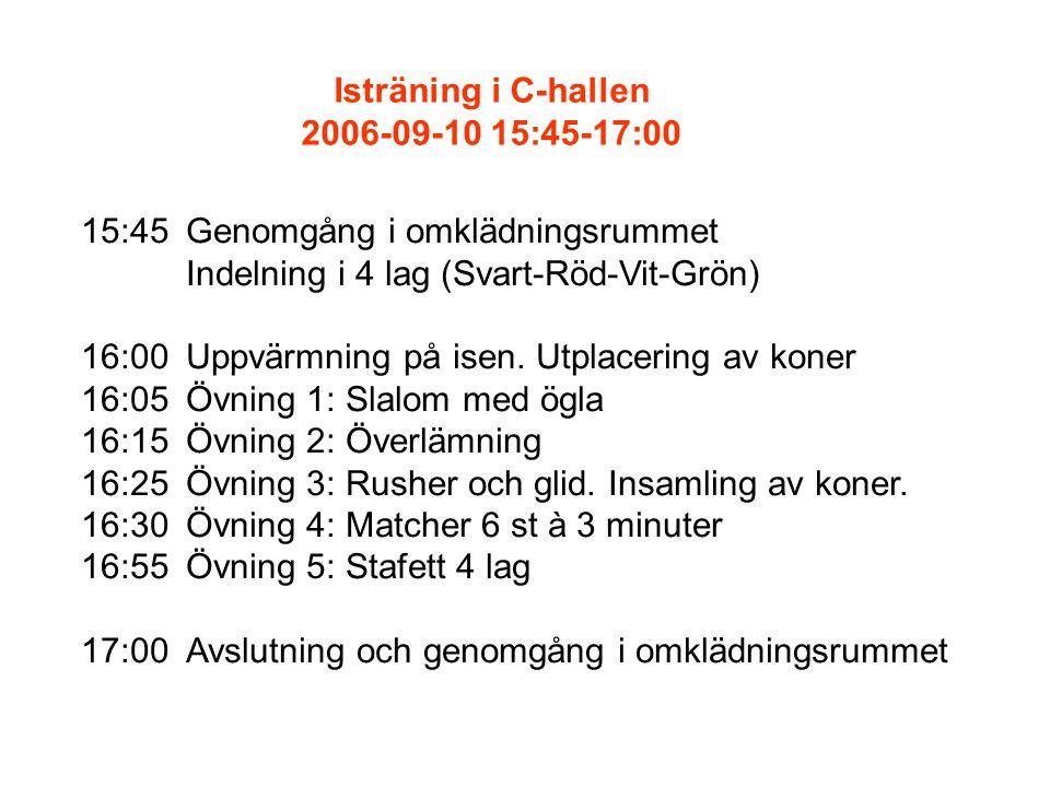 15:45Genomgång i omklädningsrummet Indelning i 4 lag (Svart-Röd-Vit-Grön) 16:00Uppvärmning på isen.