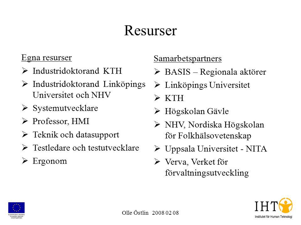 Olle Östlin 2008 02 08 Resurser Egna resurser  Industridoktorand KTH  Industridoktorand Linköpings Universitet och NHV  Systemutvecklare  Professo