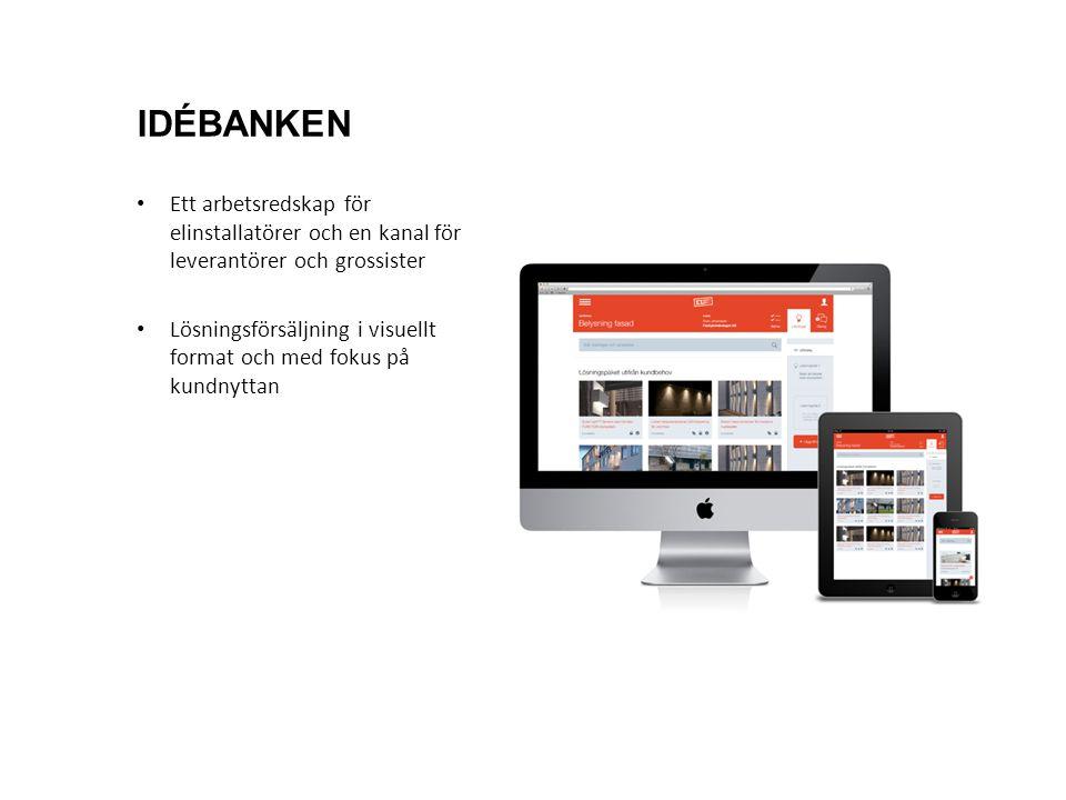 Ett arbetsredskap för elinstallatörer och en kanal för leverantörer och grossister Lösningsförsäljning i visuellt format och med fokus på kundnyttan IDÉBANKEN