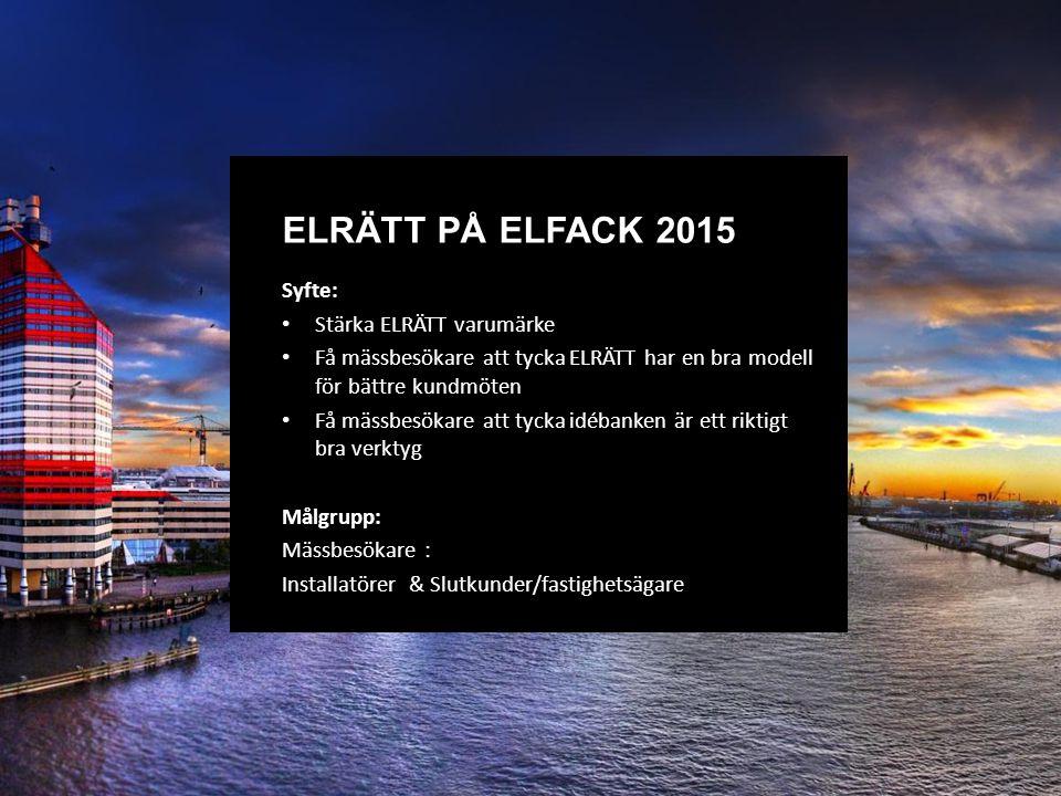 Syfte: Stärka ELRÄTT varumärke Få mässbesökare att tycka ELRÄTT har en bra modell för bättre kundmöten Få mässbesökare att tycka idébanken är ett riktigt bra verktyg Målgrupp: Mässbesökare : Installatörer & Slutkunder/fastighetsägare ELRÄTT PÅ ELFACK 2015