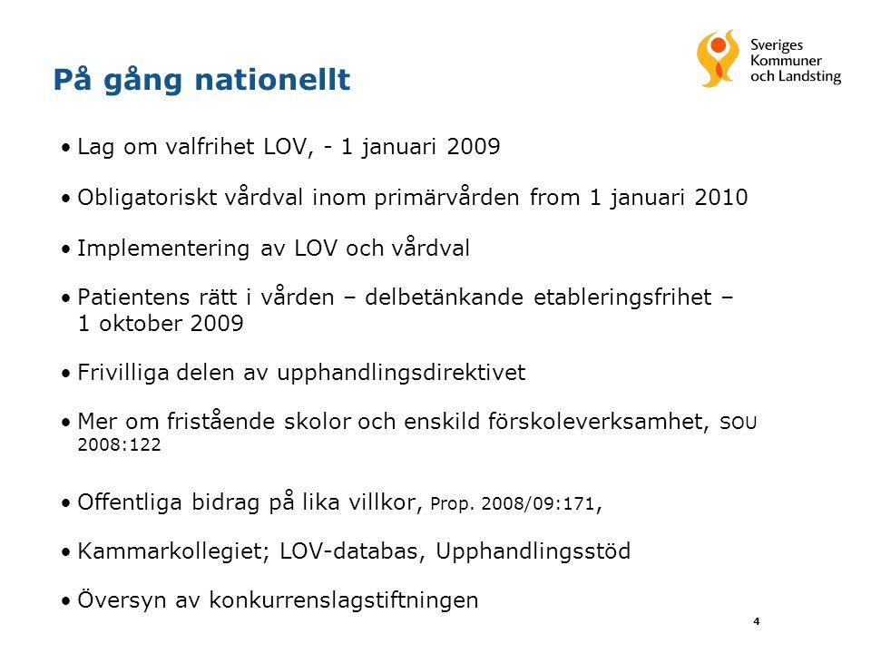 4 På gång nationellt Lag om valfrihet LOV, - 1 januari 2009 Obligatoriskt vårdval inom primärvården from 1 januari 2010 Implementering av LOV och vård