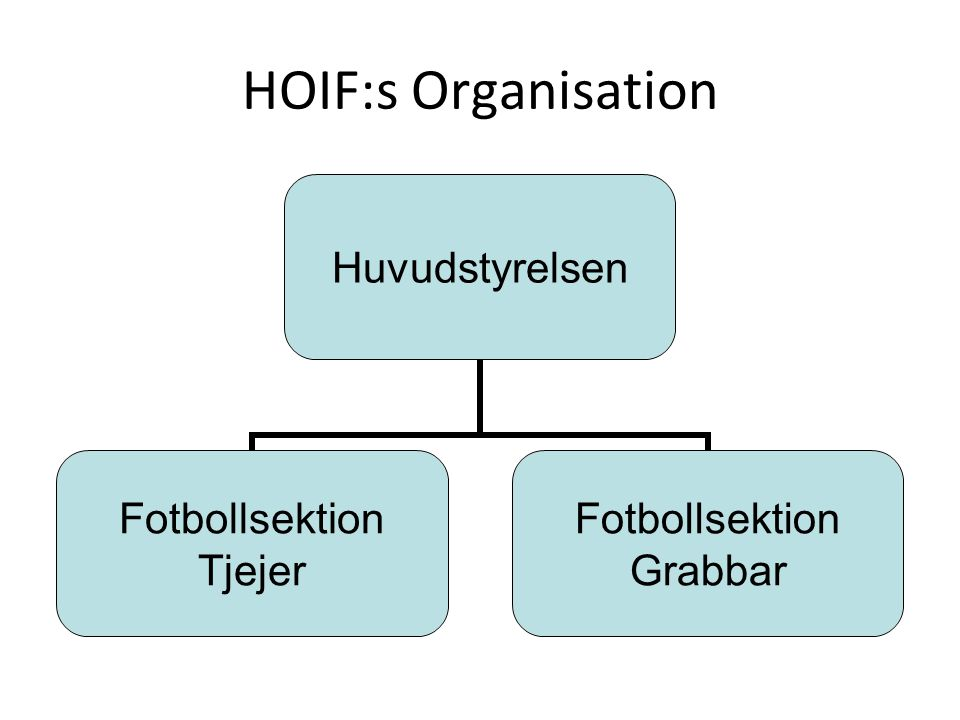 HOIF:s Organisation Huvudstyrelsen Fotbollsektion Tjejer Fotbollsektion Grabbar