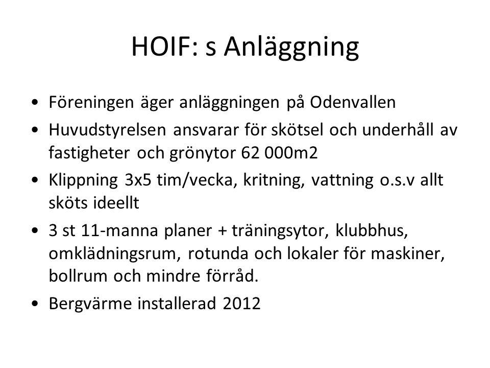 HOIF: s Anläggning Föreningen äger anläggningen på Odenvallen Huvudstyrelsen ansvarar för skötsel och underhåll av fastigheter och grönytor 62 000m2 K