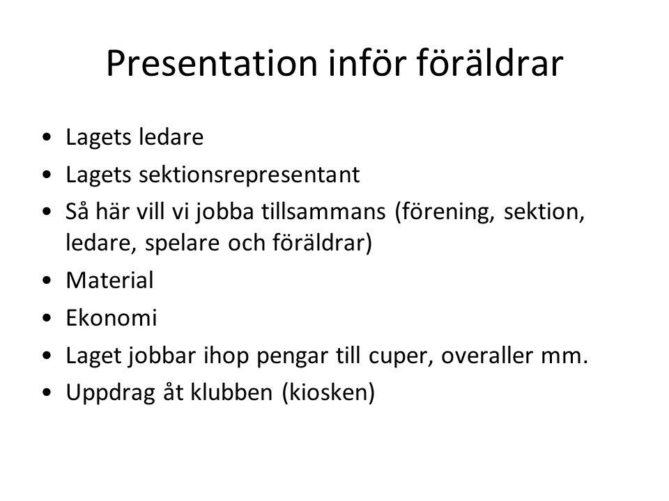 Presentation inför föräldrar Lagets ledare Lagets sektionsrepresentant Så här vill vi jobba tillsammans (förening, sektion, ledare, spelare och föräld