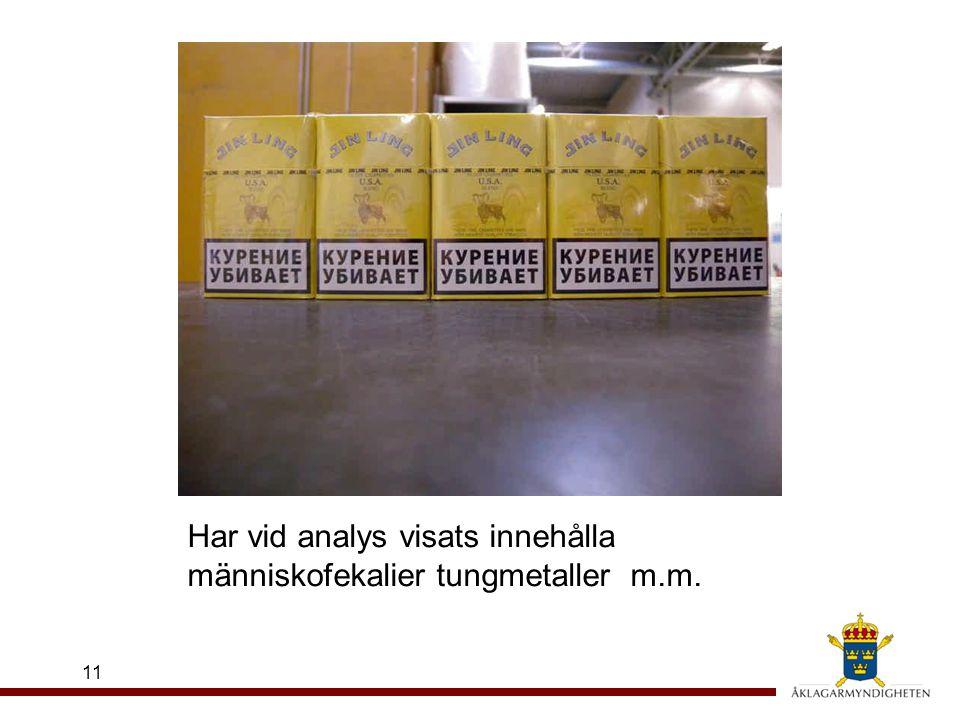 11 Har vid analys visats innehålla människofekalier tungmetaller m.m.