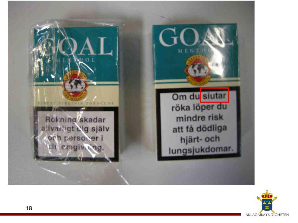 19 Tobakslag (1993:581) 11 § En tobaksvara får inte i näringsverksamhet tillhandahållas konsumenter inom landet, om den saknar varningstexter eller innehållsdeklaration eller om text eller deklaration är uppenbart oriktig Straffbestämmelse i 27 § TOBAKSLAGEN ÄR EN INGÅNG TILL HUSIS!!.