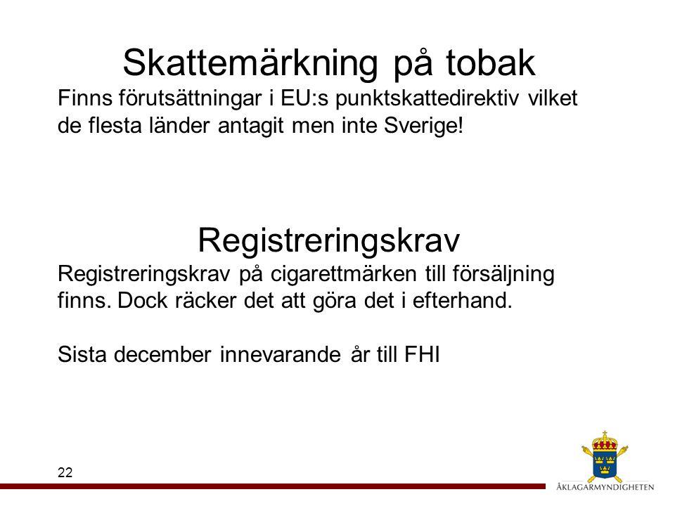 22 Skattemärkning på tobak Finns förutsättningar i EU:s punktskattedirektiv vilket de flesta länder antagit men inte Sverige! Registreringskrav Regist