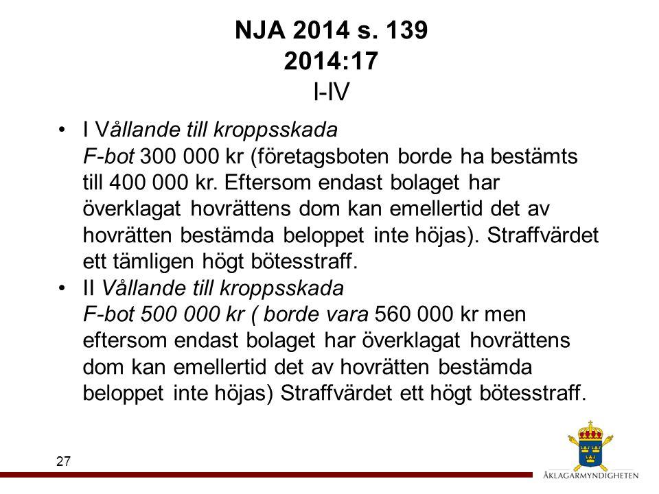 NJA 2014 s. 139 2014:17 I-IV 27 I Vållande till kroppsskada F-bot 300 000 kr (företagsboten borde ha bestämts till 400 000 kr. Eftersom endast bolaget
